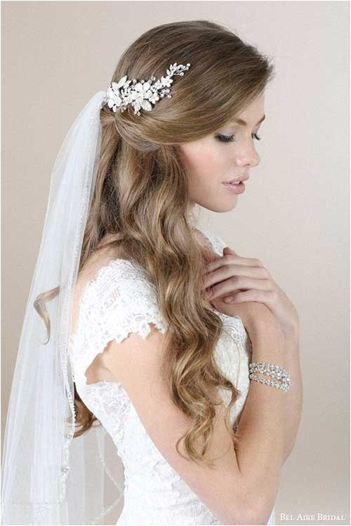 Wedding Hairstyles Long Hair Down Veil 4 Half Up Half Down Bridal Hairstyles with Veil