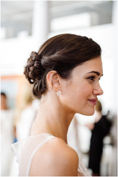 A braided bun bridal hairstyle