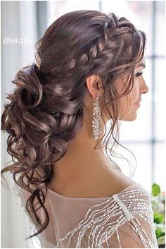 Glamorous side braided curly low updo wedding hairstyle Featured Hairstyle Elstile Curly Braided Hairstyles