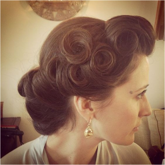 Pin Up Wedding Hairstyles Pin curls vintage hairstyle Pinup up do wedding occasion hair