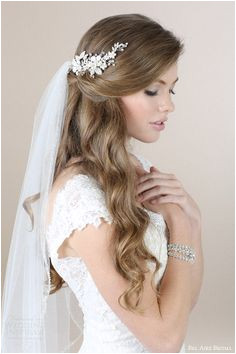 bel aire bridal 2015 wedding hair accessories floral rhinestone b veil 947a8618 Wedding Hair Down