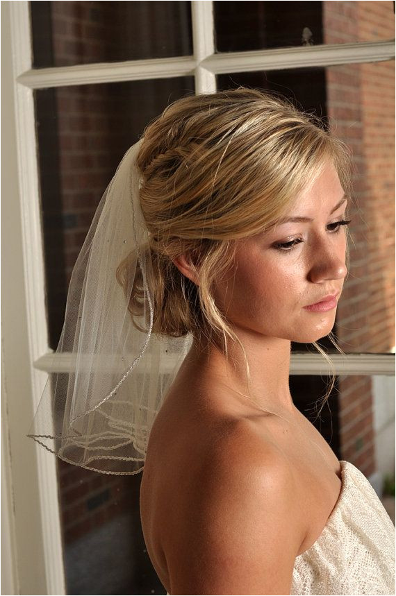 Veil with Beaded Edge and Scattered Swarovski by SimplyBlueBridal