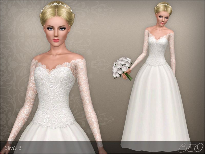 Wedding dress presented in 1 variant Lace top with deep low neck long sleeves and a lush skirt Recolorable 3 canals Found in TSR Category Sims 3 Female