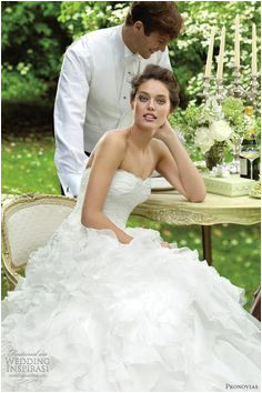 More of our favorite looks from Pronovias 2012 bridal look book Blanca ruffle ball gown wedding dress below Benicarlo strapless ball