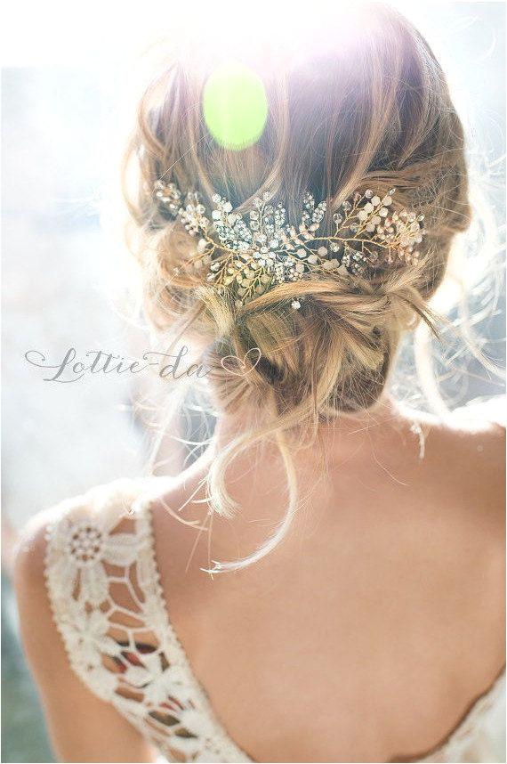 Gold Antique Gold Silver Boho Headpiece Opal Flower Hair Crown Hair Vine