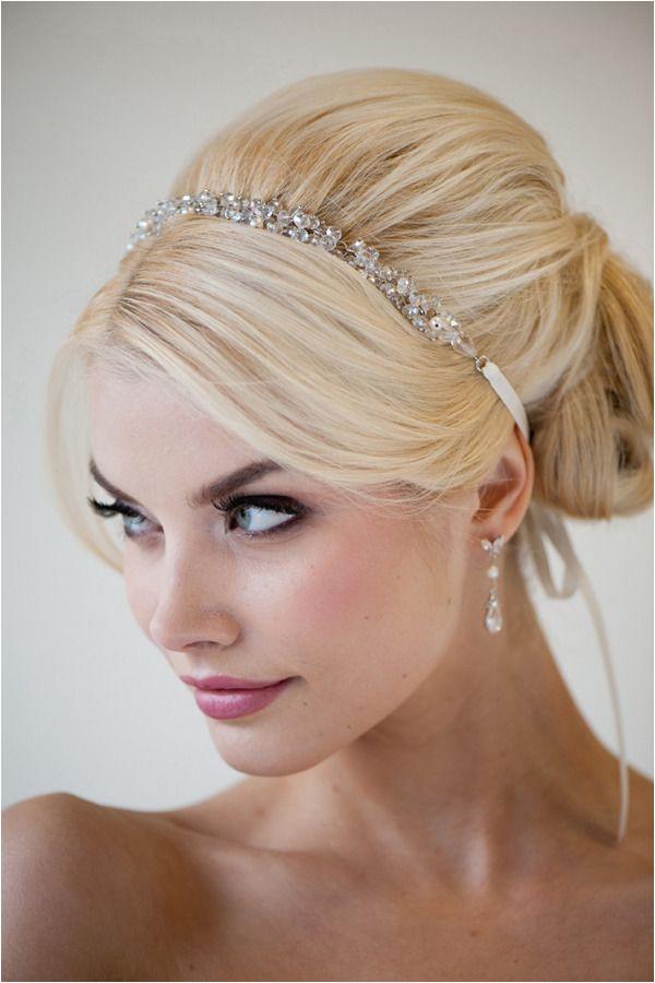 Bouffant fancy formal hair Simple sparkly headband Dark eyed makeup fair skin