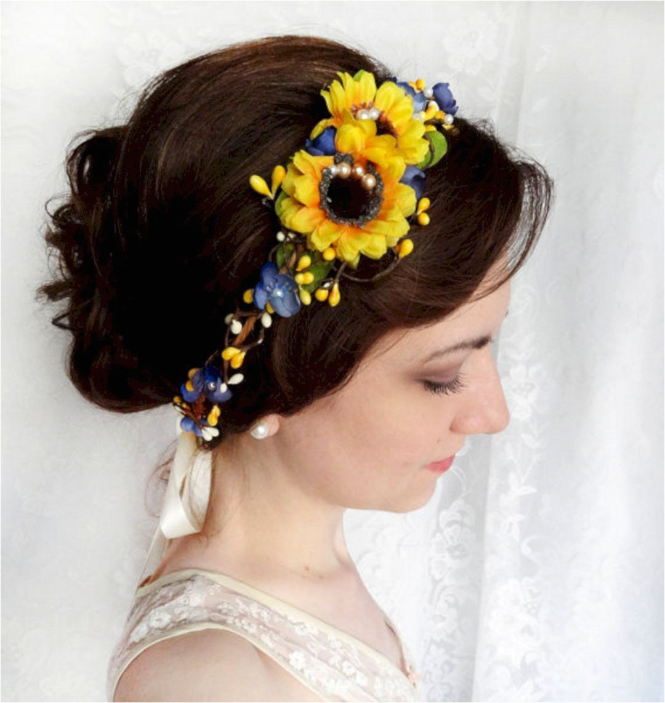 Wedding Hairstyles with Sunflowers 40 Best Sunflower Crown Design Ideas for Amazing Wedding