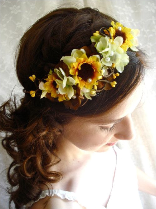sunflower hair wreath wedding headpiece yellow flower crown flower girl hair accessory CHARMED bridal circlet headpiece brown