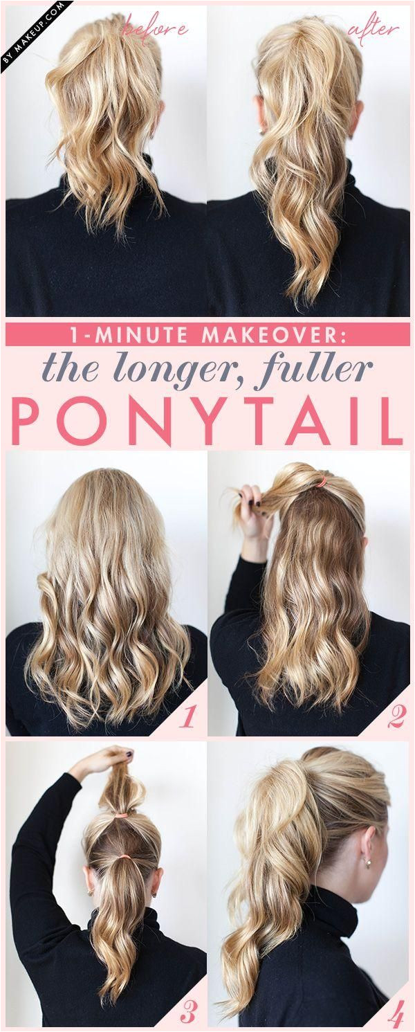 1 Minute Makeover The Longer Fuller Ponytail Diy Hairstyles Easy Ponytail Hairstyles