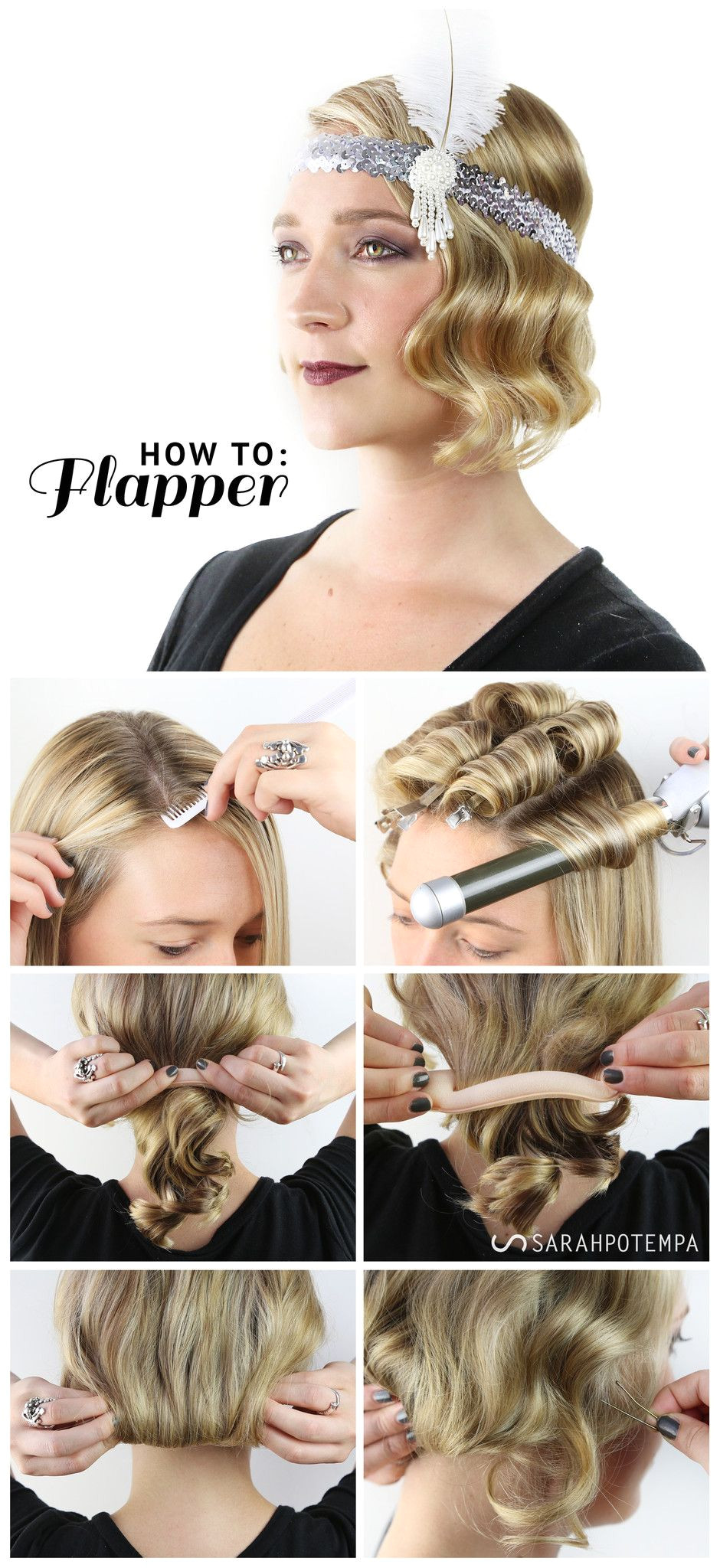 How to flapper hairstyle HALLOWEEN LOOK FABULOUS FLAPPER Finger waves using the Sarah Potempa Beachwaver Pro