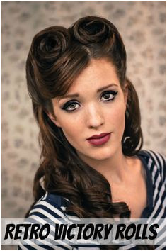 The Freckled Fox Sweetheart Hair Week Tutorial 2 Retro Victory Rolls Victory