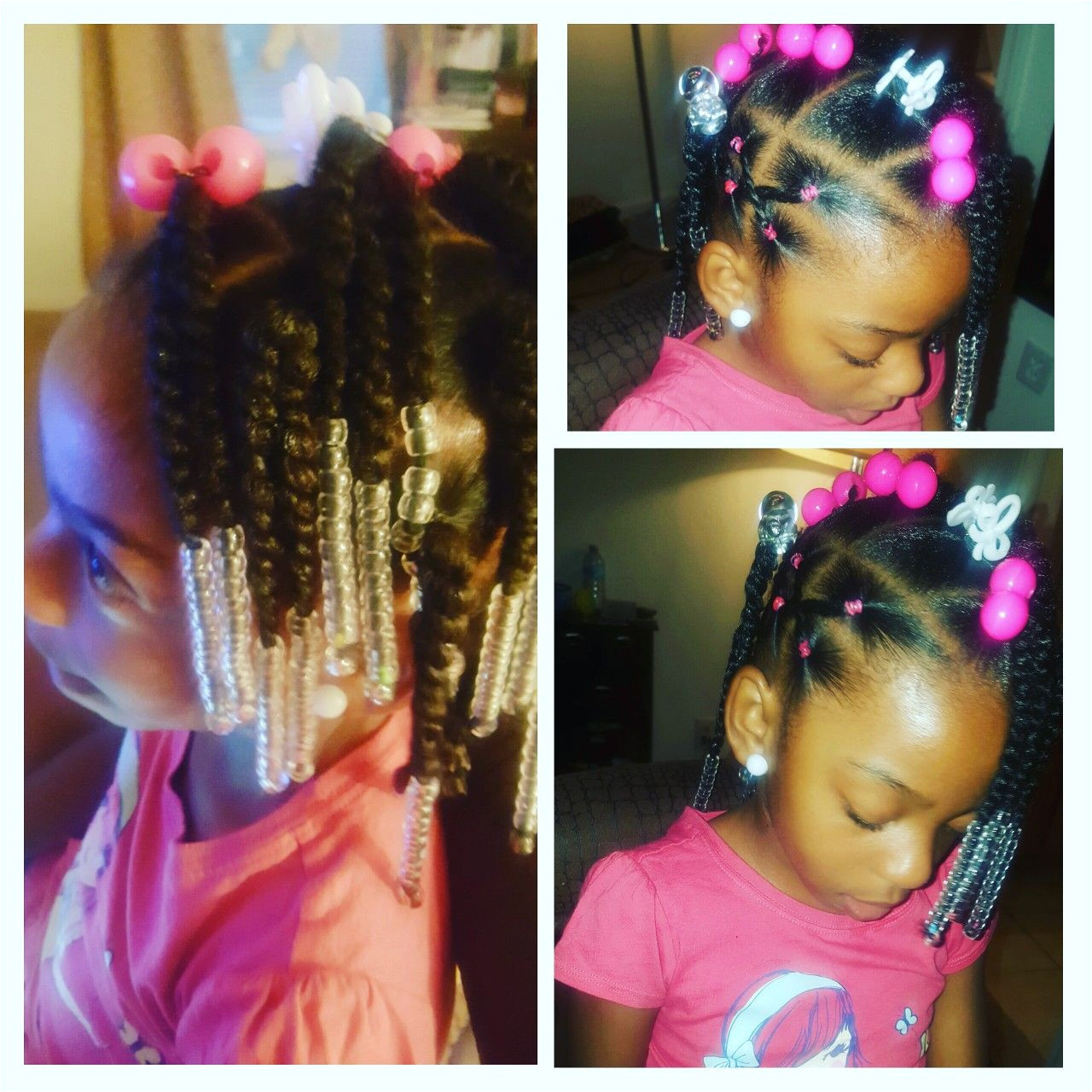 Simple hair styles for little black girls Braids Beads and rubber bands in curly hair