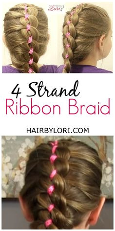 French 4 Strand Ribbon Braid Girly HairstylesHairstyles For SchoolLittle