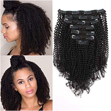 Amazon AmazingBeauty 8A Grade Real Remy Human 4B 4C Double Weft Kinkys Coily Hair Extensions Clip for African American Black Women Natural Black