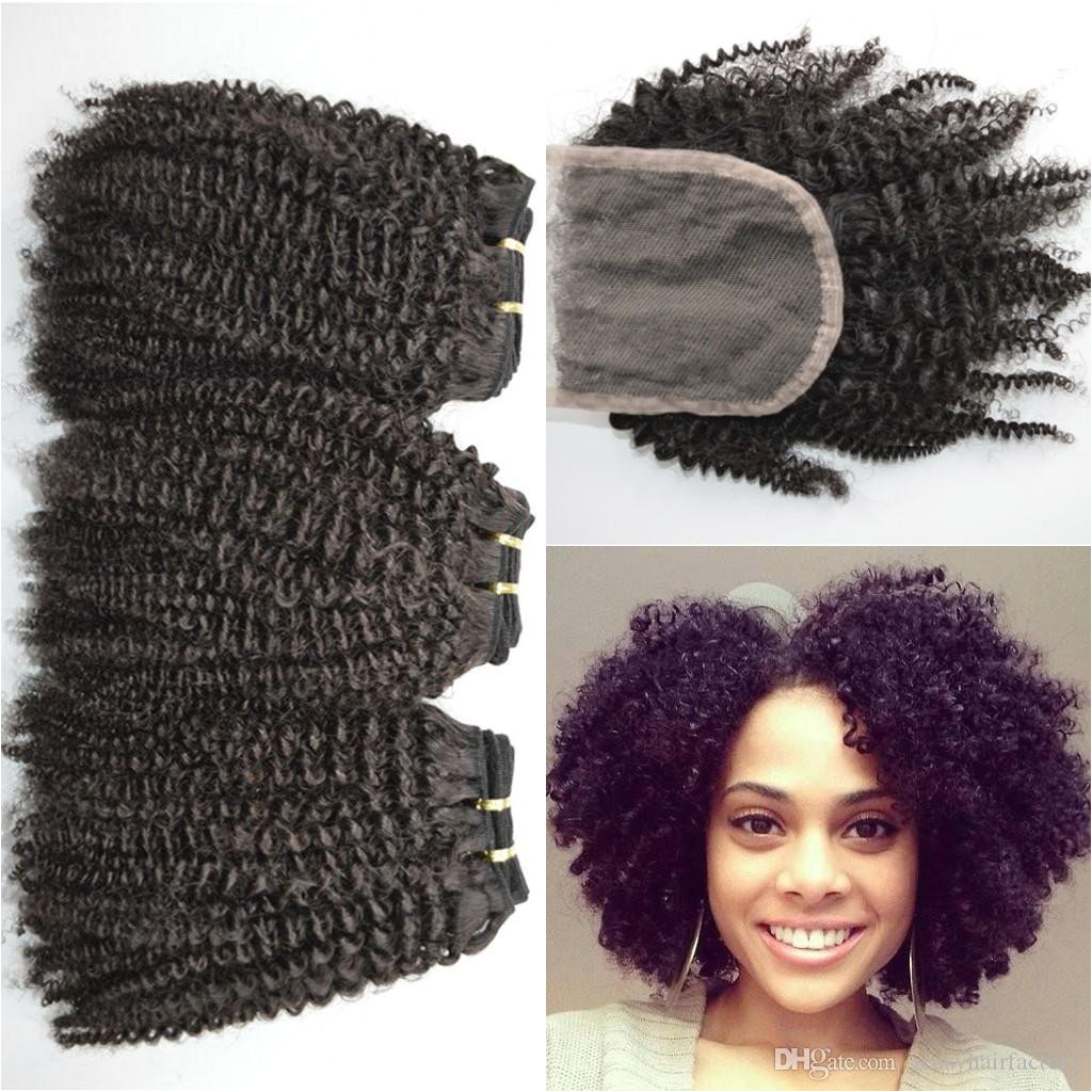 4a 4b 4c Afro Kinky Curly Human Hair Weave Bundles With Lace Closure Natural Black Free Middle Three Part Closure LaurieJ Hair Curly Hair Weave