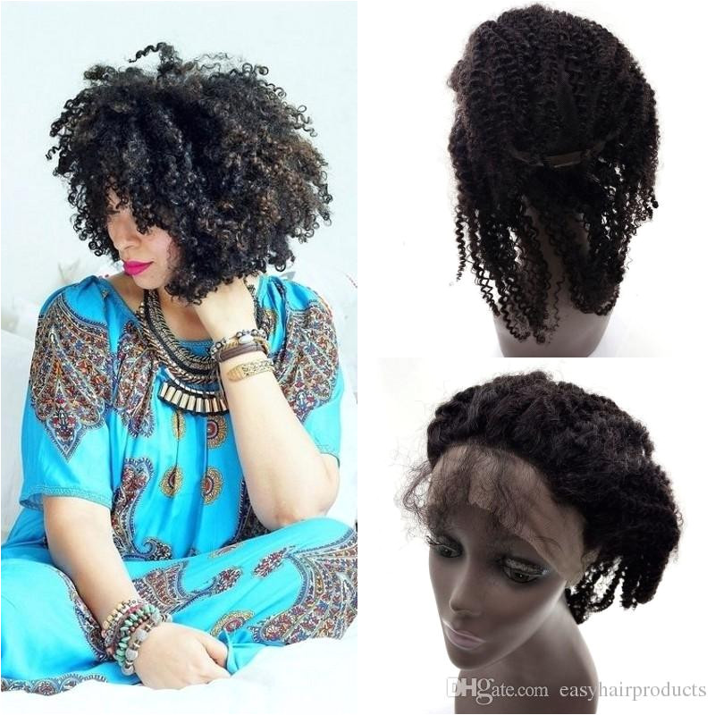4b 4c Afro Kinky Curly 360 Lace Frontal Bleached Knots Natural Unprocessed Human Hair 360 Lace Closure G EASY Top Lace Thin Skin Wigs From Easyhairproducts