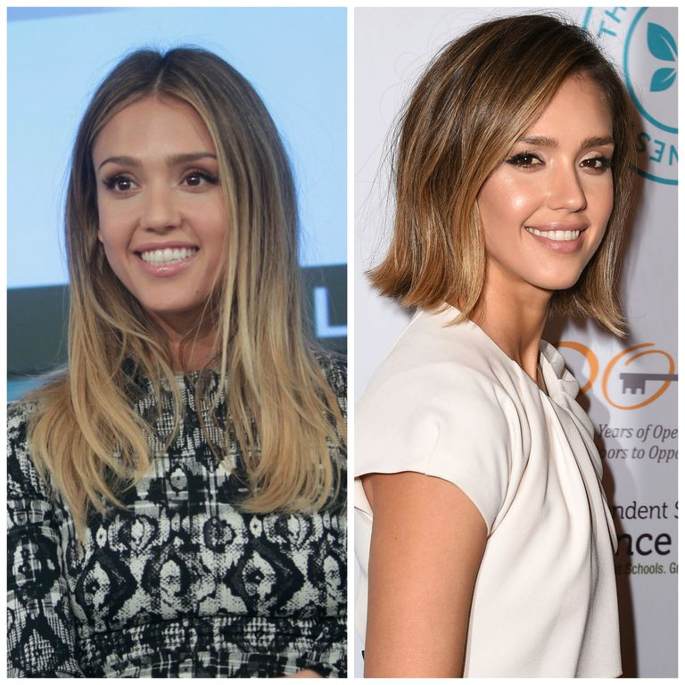 Jessica Alba with two haircuts