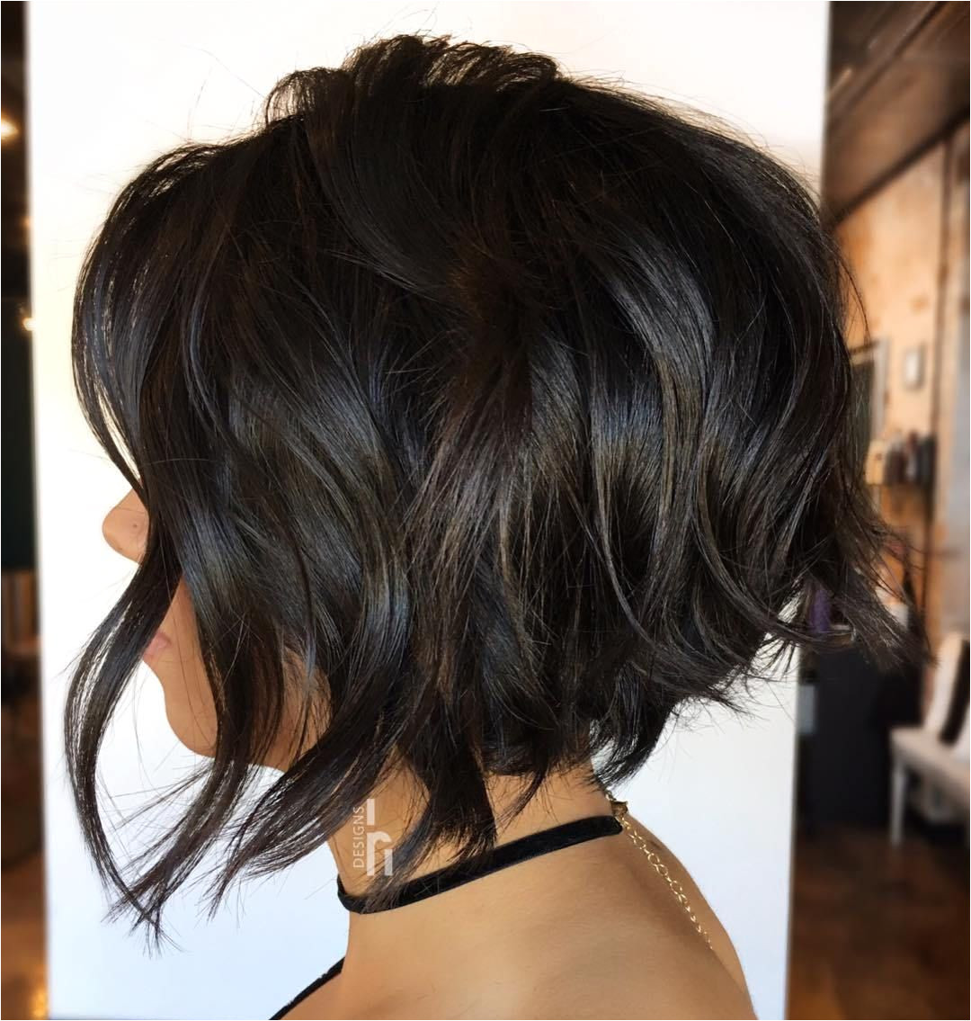 Wavy Brunette Bob with Surface Layers
