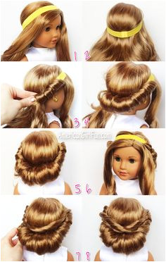 Wrapped Headband Updo American Girl Doll Hairstyle click through for tutorial Ag Doll Hairstyles