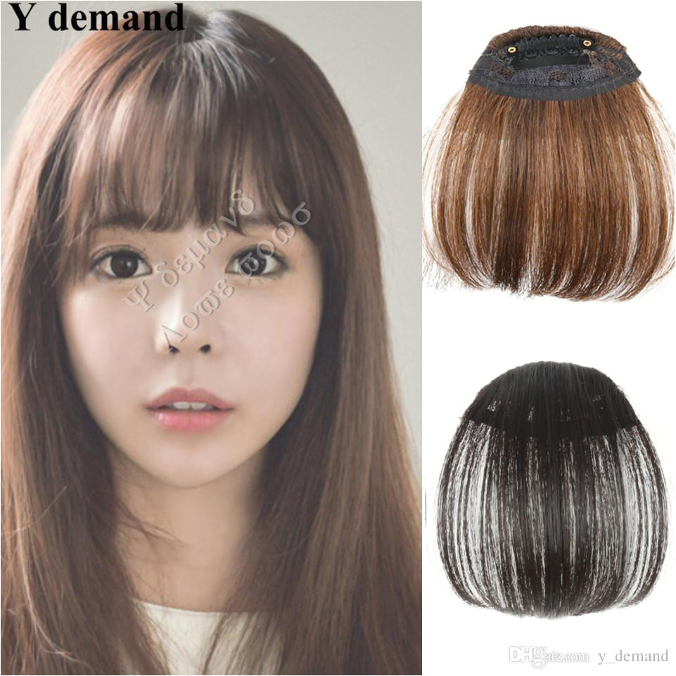 Natural Bang False Hair Bangs Black Light Brown Dark Brown Clip In on Bangs Synthetic Hair Fringe Fashion Y Demand Hair Accessories Synthetic Hair Hair