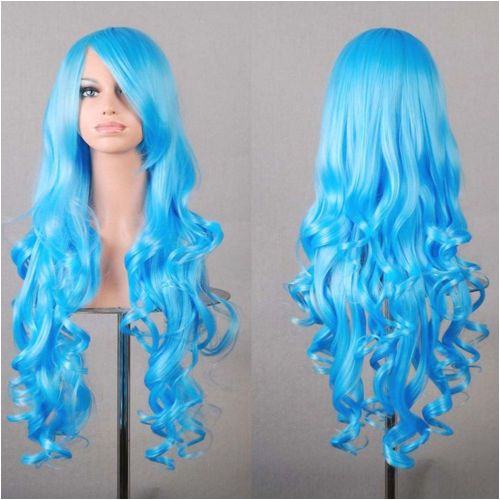 New Womens Fashion Wigs Multi Color Curly Anime Cosplay Party Costume Hair Wig