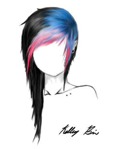 Black emo hair with blue and pink fringe