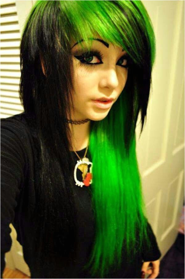 emo girl black and green hair