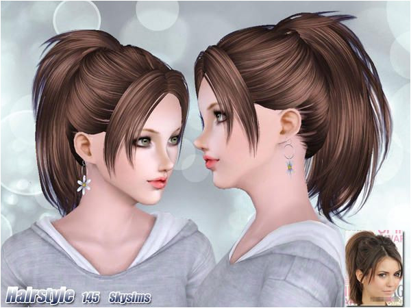 Texturized ponytail with bangs hairstyle 145 by Skysims for Sims 3 Sims Hairs
