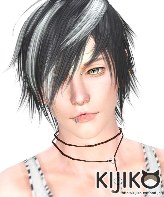 White Toyger Kitten hair for males by kijiko Sims 3 Downloads CC Caboodle
