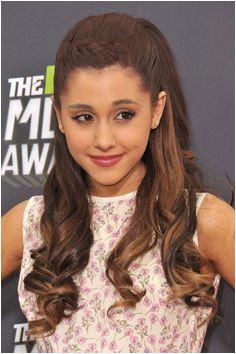 Ariana Grande Wavy Medium Brown Barrel Curls Crown Braid Half Up Half Down Hairstyle