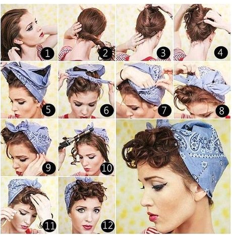 50s hairstyles with bandana tutorial
