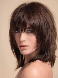 Layered Shag with Full Fringe Middle Length Synthetic Capless Wigs