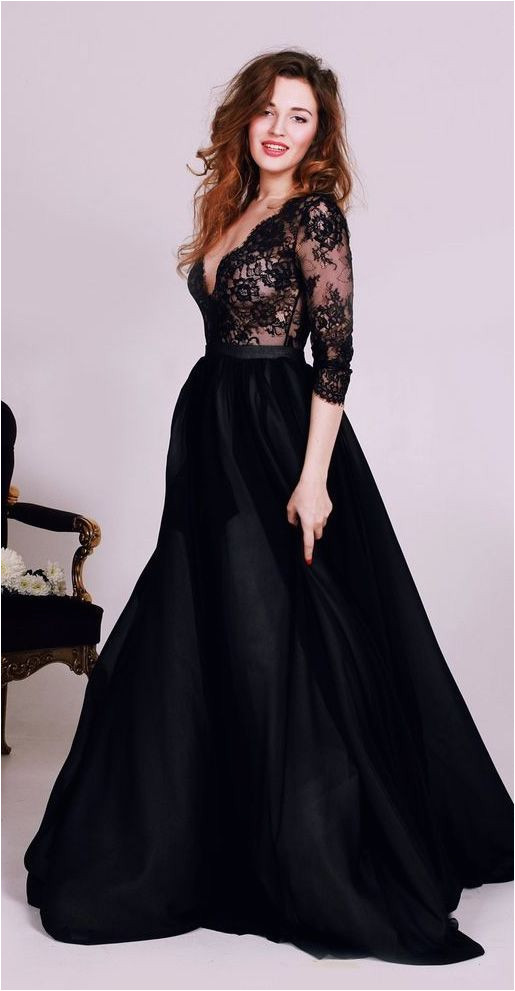 Customized Sleeves Dresses Long Black Prom Evening Dresses With Lace Floor length Luxurious Prom Dresses WF02G56 480 in 2018 Styles Pinterest