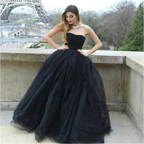 Modern Ball Gown Strapless Black Tulle Long Prom Evening Dress P0311 promdresses longpromdresses 2018promdresses fashionpromdresses charmingpromdresses