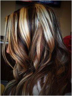 multicolored streaked hair dark brunette and chocolate brown light blonde and platinum brown hair with blonde highlights worn by woman in facing to one