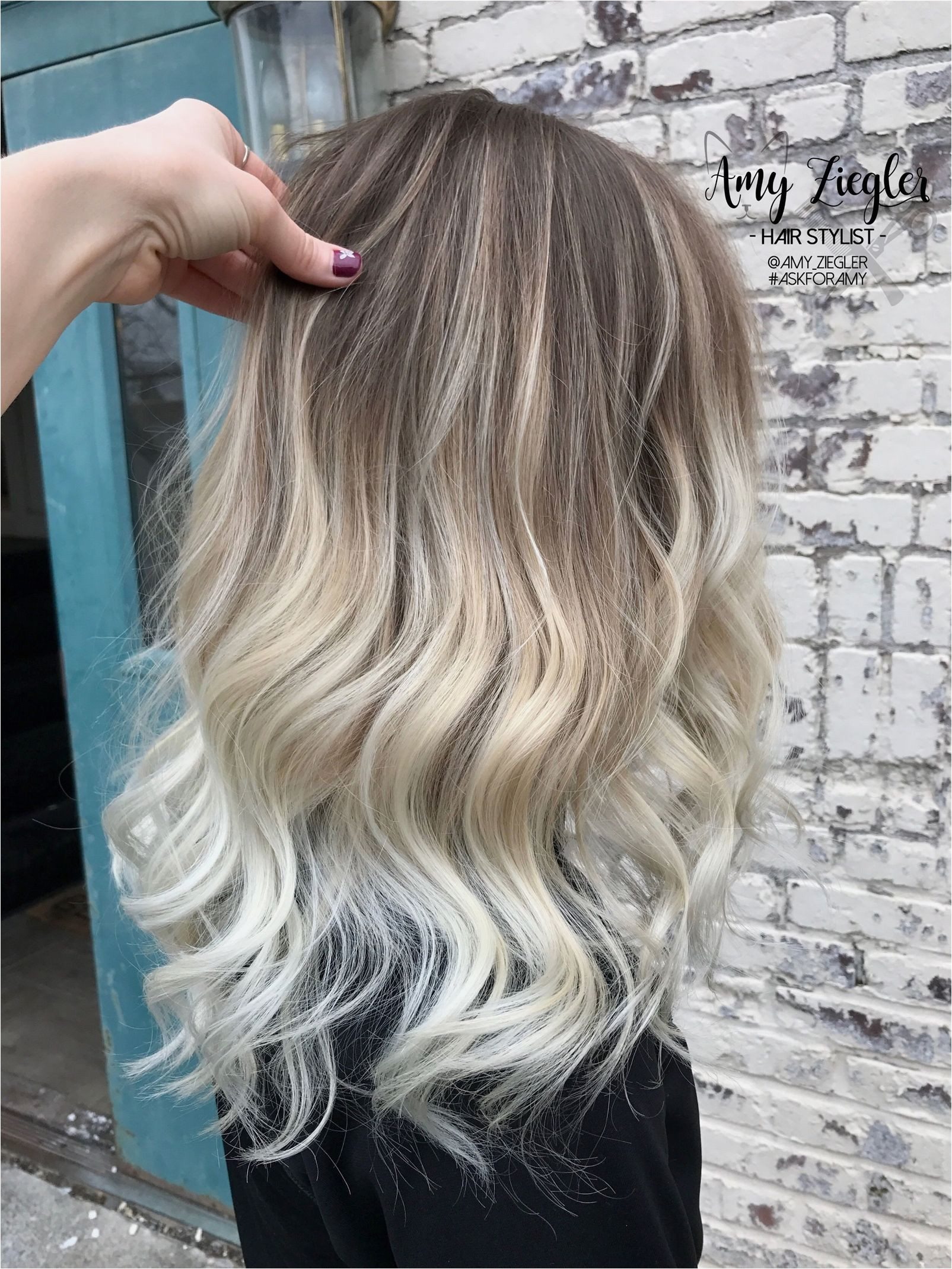 ✨Platinum blonde balayage ombre with natural root by amy ziegler BlondeOmbre