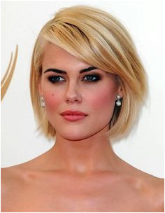 Short Haircuts for Heart Shaped Faces Chin Length Bob with Side Swept Bangs Rachael Taylor