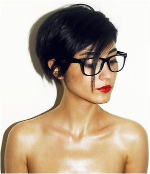 Short Black bob and glasses with red lips Cut My Hair Your Hair New