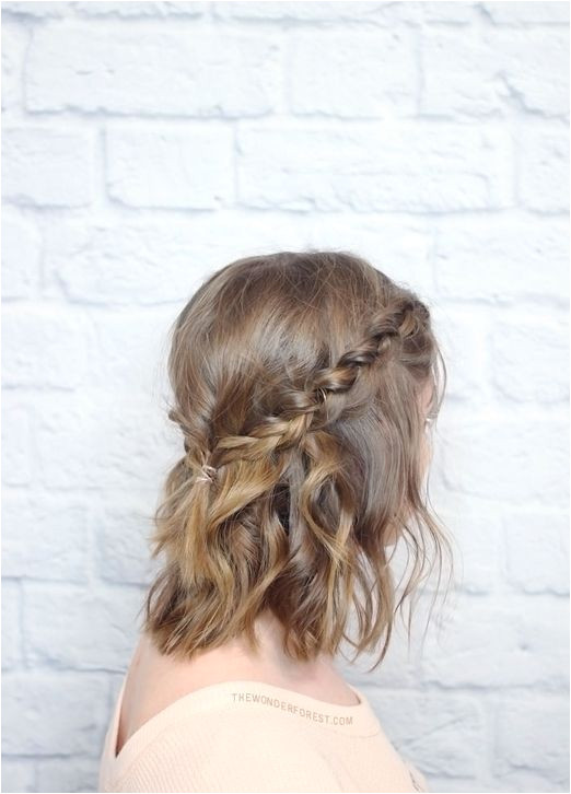 15 Natural Wedding Hair Styles Natural messy plaited crown for short wedding hair