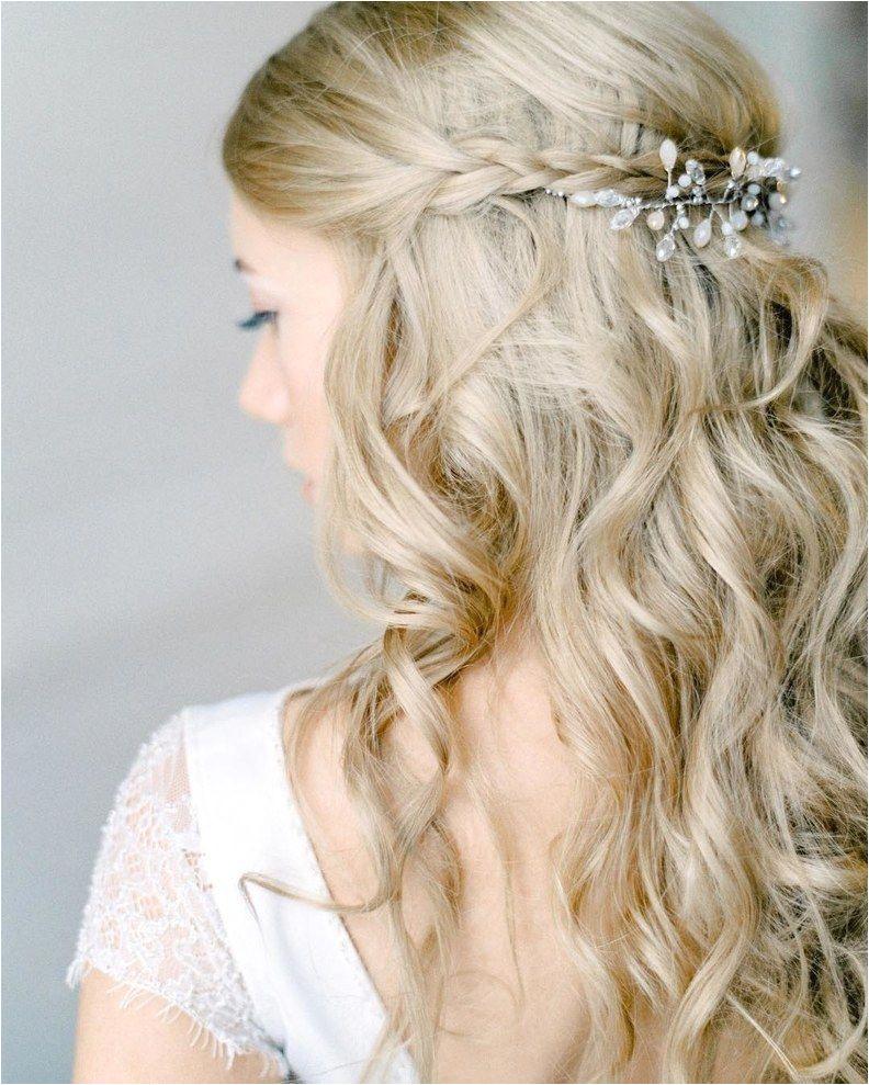 Bride Hairstyles Half Up with Braid Curly Half Up Wedding Hairstyle with Braid
