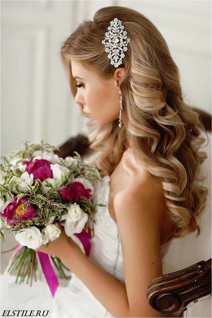 Long curled bridal hair style