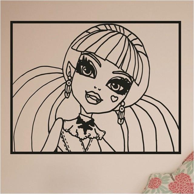 Cartoon Movie Monster High Wall Stickers Monster High Draculaura Girls Wall Art Vinyl Decal Sticker