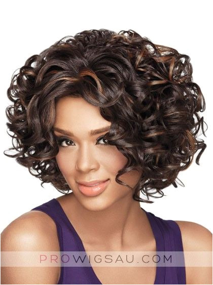 Gorgeous Curly Chin length Synthetic Wig motown tress afro puff wig