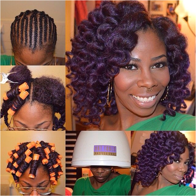 Here I decided to install my crochet braids using a deep purple c… Loving These Styles