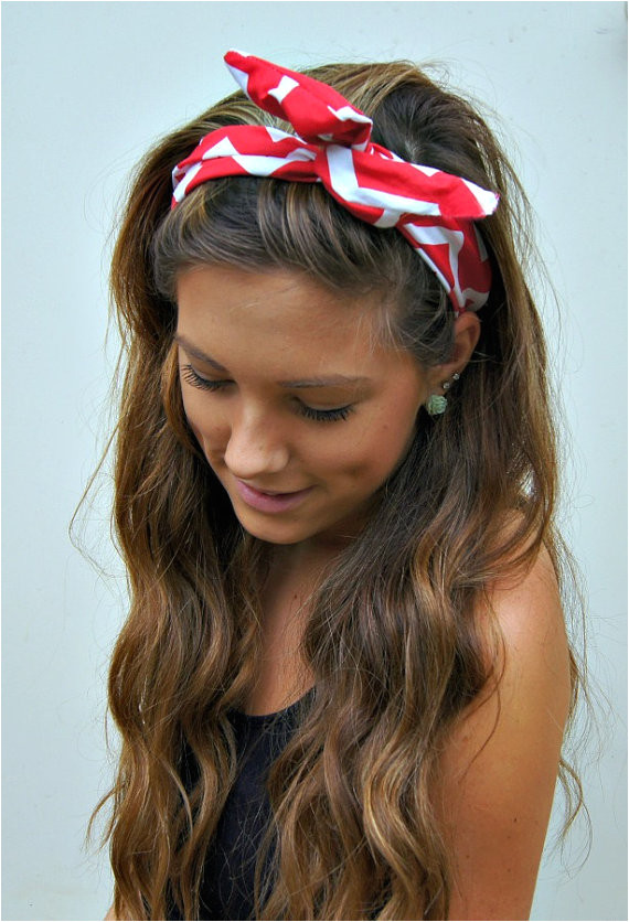 PIN UP Headband ROCKABILLY Wired Fabric Dolly Bow Chevron via Etsy