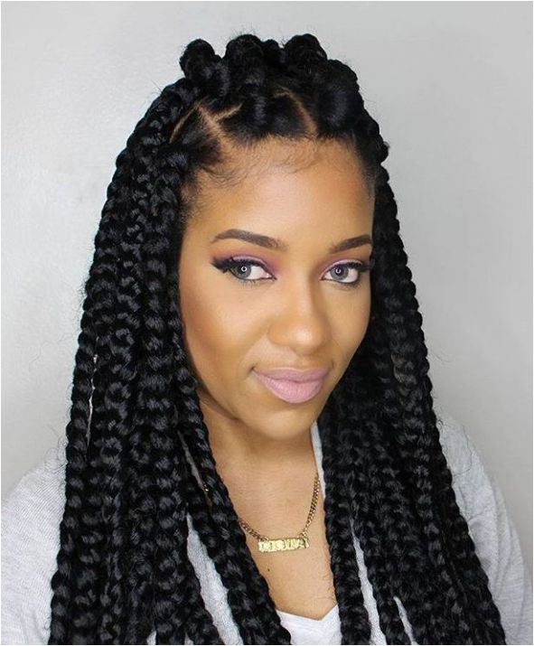 Thick Box Braids With Top Bantu Knots More