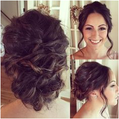 Bridal Updo Brunette Wedding Hairstyle curled with the Bellami iron pulled back into a medium height bun with two side pieces left down Products Used