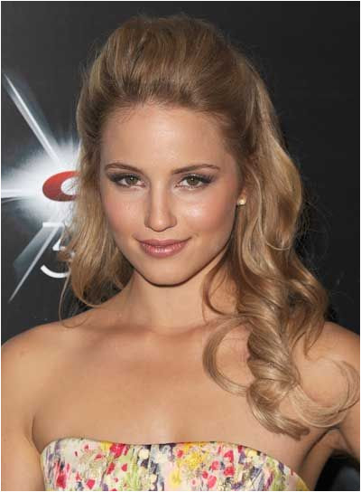 Dianna Agron Long Curly Romantic Half Updo 1 First use a teasing b to tease the top of your hair for some extra volume 2 Then pull back the top
