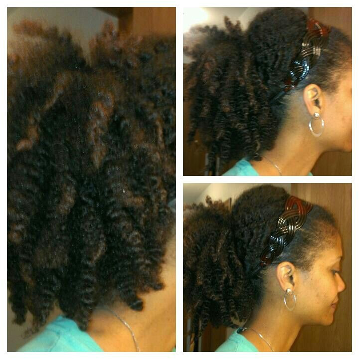 Twist out pulled back N to loose ponytail