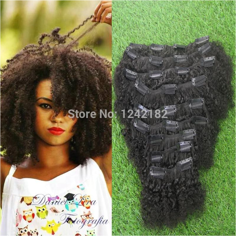 Hot Sale Afro Kinky Curly Hair Clip In Human Hair Extension Brazilian Natural Black Kinky Curly Clip In Hair Extensions Strawberry Blonde Hair Extensions